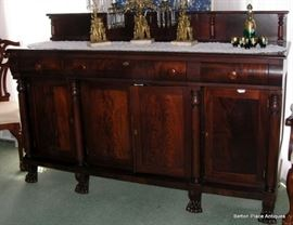 Flame Mahogany 1900 Era Server with columns and Lion Claw Feet....this is 72 inches wide and 22 inches deep, standing 47 inches tall, including back.
