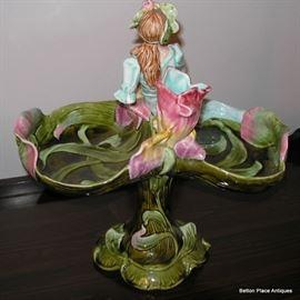Art Nouveau Majolica  Figural Compote