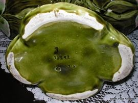 Art Nouveau Majolica  Figural Compote showing the Base marks.