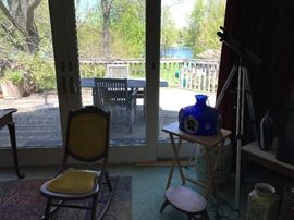 Folding rocking chair, outdoor table and chairs, more beer memorabilia