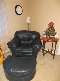 Leather Chair & Half Moon Ottoman