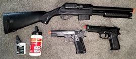 Pellet shot gun, two pistols & pellets
