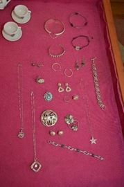 sterling necklaces, bracelets, pins, earrings
