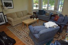sofa, love seat, pair chairs, coffee table