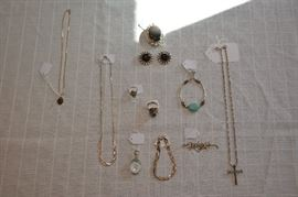 gold necklace, sterling necklaces, rings, pendant/earring set - more sterling found, but have to clean it...