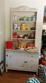 Ivy motif up-cycled china hutch (in 3 pieces--base, table top, & upper hutch portion)--SOLD