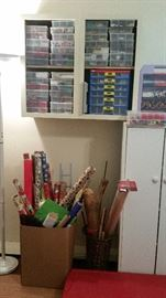 Upper cabinet full of beads in containers, wrapping paper, torchiere floor lamp, 2-door free-standing cabinet--SOLD