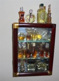 Curio with Small Perfume Bottles