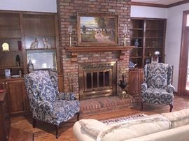 Fox hunt oil painting, pair of wingback chairs