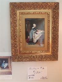 Painting on Tile, not KPM, signed R Begshlae