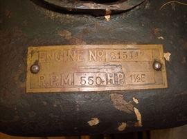 Engine No 215447 name plate