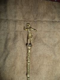 Brass Spoon with Soldier Finial