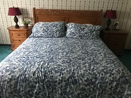 Cal King Bed, bedside tables, lamps, Ralph Lauren bedspread and sheets