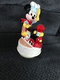 Disney's Engineer Mickey and train.  Music box by Schmid.