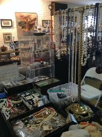 costume jewelry, buttons, postcards