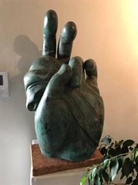 large 27 inch bronze hand