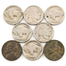 Eight Vintage U.S. Nickels: A group of eight vintage U.S. nickels. Includes six Buffalo nickels and two WWII silver Jefferson nickels. Diameter: 21.2 mm. Weight: 5 grams (each). Circulated. Conditions vary.