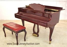 "—  VERY CLEAN — Absolutely Beautiful Burl Nice Size Mahogany Baby Grand Piano with Bench by ""Maeari"" Located Inside – Auction Estimate $2000-$5000"