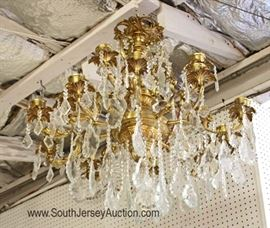 Beautiful Bronze and Crystal 18 Arm Chandelier  approximately 3'w x 2 1/2'h