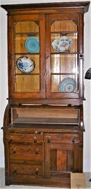 7 ½' Victorian Cylinder Bookcase Secretary