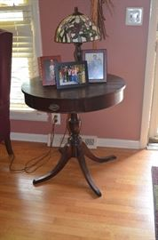 Antique Duncan Phyfe Table plus Leaded Glass Table Lamp