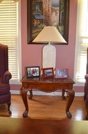 Carved Oak Occasional Table with Glass Top also Table Lamp and Framed Print
