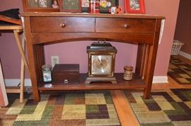 Beautiful 2 Drawer Table ( there are 2 of these ) with Carriage Clock and Humidor