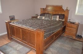 Gorgeous Amish Hand Made Bedroom Suite consisting of Bed, Triple Mirrored Dresser, Matching End Tables, and Unique Chest of Drawers