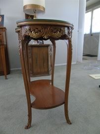 Glass topped floral decorative end table