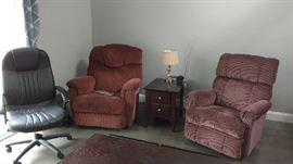 2 club chairs  and office chair