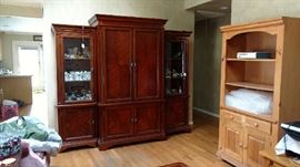 armour & 2 light up  curio cabinets livingroom Raymour & Flanagan