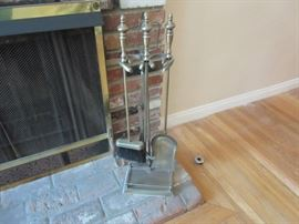 Fireplace set of tools in heavy brass.