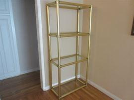 Gold metal four glass shelf corner unit, for any room!