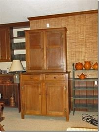 Moravian walnut two piece flat wall cupboard, circa 1820