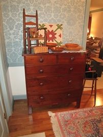 Local walnut inlaid chest of drawers