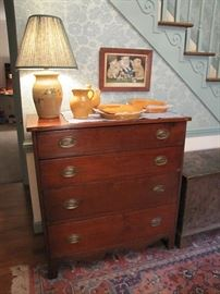 Local walnut inlaid chest of drawers, circa 1830