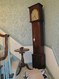 Tall case clock and candle stand with birdcage