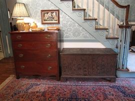 Walnut chest of drawers and Iredell, Catawba County paint decorated blanket chest, circa 1820