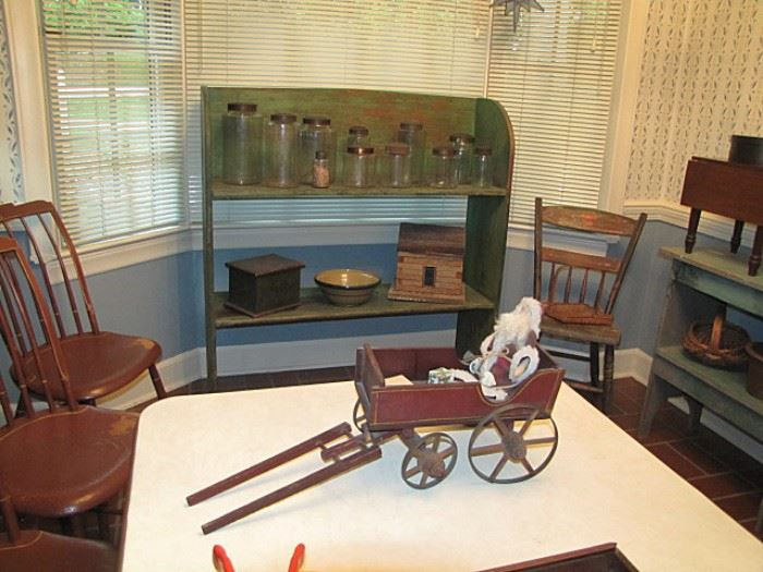 Early pantry jars, bucket bench, chairs