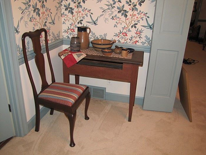 North Carolina table with dirty dish slot; Queen Anne dining chair, repro