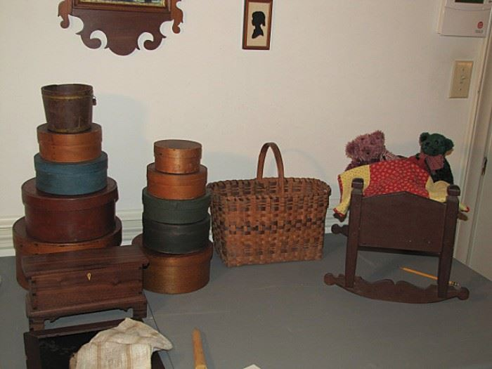 Pantry boxes, doll cradle, Cherokee basket