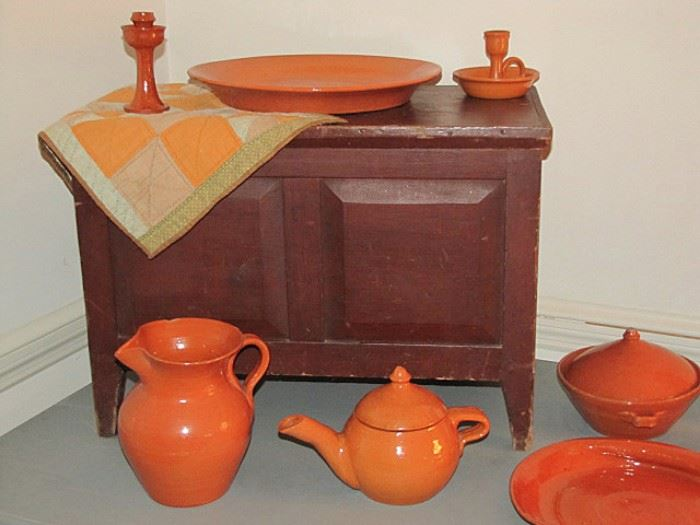 Sugar chest in red paint and Jugtown pottery