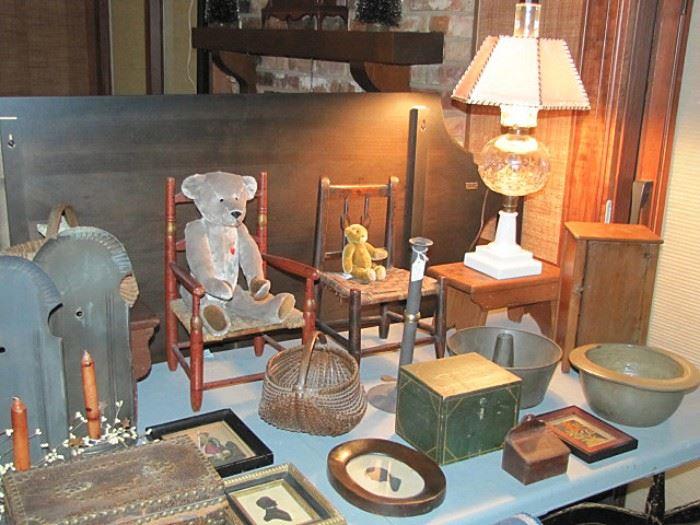 Doll chairs, bears, silhouettes, salt glazed milk crock, lamps