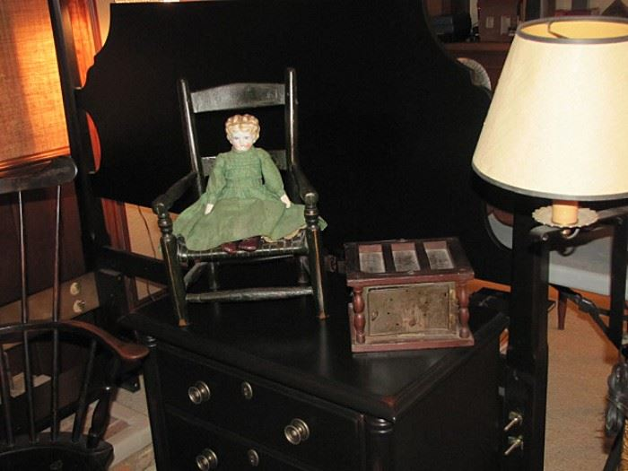 Child's chair, china head doll, foot warmer