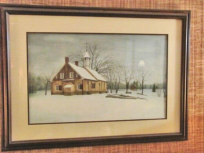 John Furches original painting, Bethabara Church