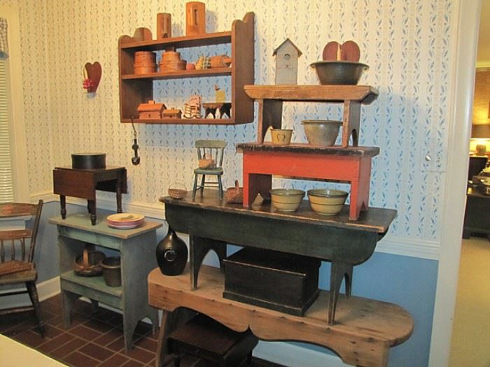 Benches, stools, bucket benches, pantry boxes, miniature tables, pottery