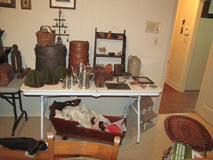 Hanging shelves, cradle, pewter coffee set