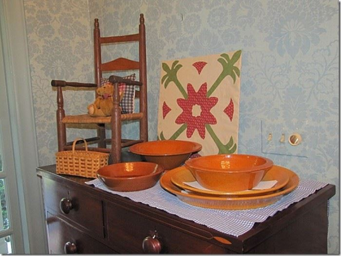 Jugtown pottery, Cherokee basket, child's chair
