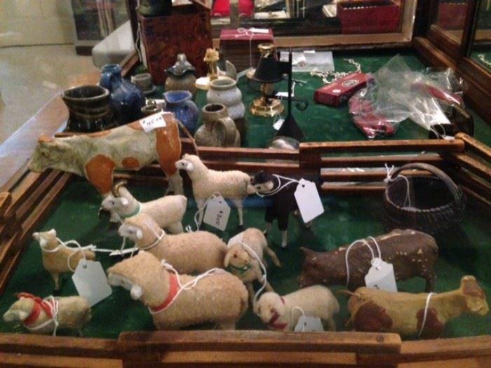 German sheep, putz animals, miniature pottery
