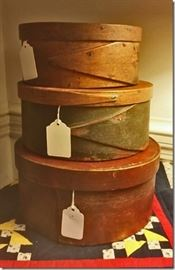 Shaker boxes, some with original paint